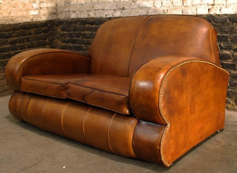 20th Century Antique Art Deco French Leather Two-Seat Club Sofa For Sale