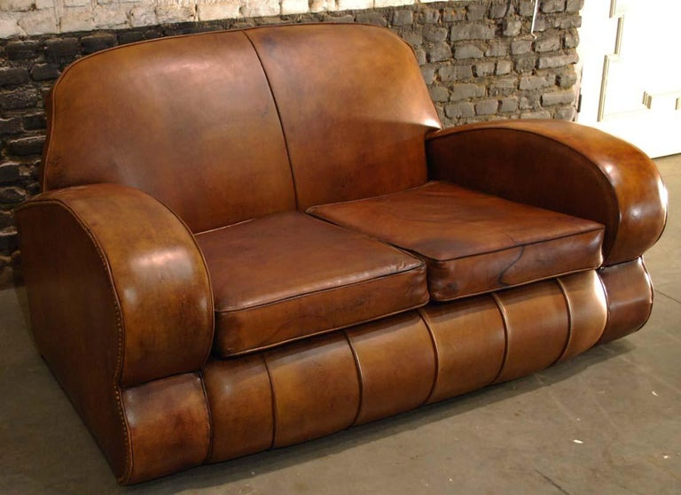 Sheepskin Antique Art Deco French Leather Two-Seat Club Sofa For Sale