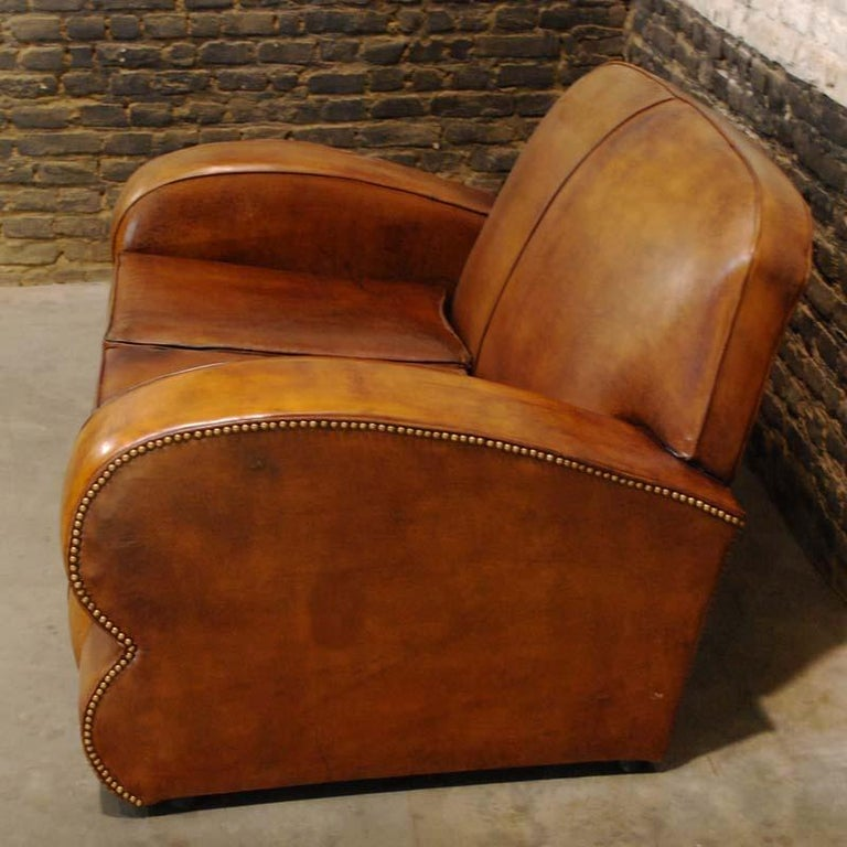 Antique Art Deco French Leather Two-Seat Club Sofa For Sale 1