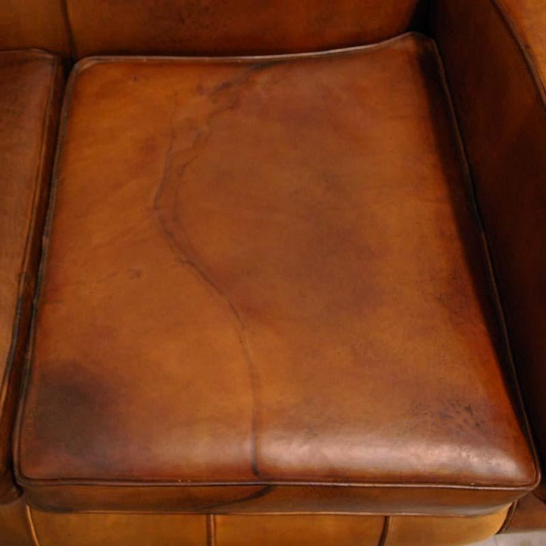 Antique Art Deco French Leather Two-Seat Club Sofa For Sale 2