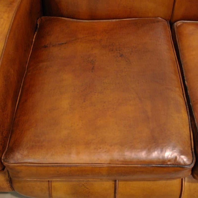 Antique Art Deco French Leather Two-Seat Club Sofa For Sale 3