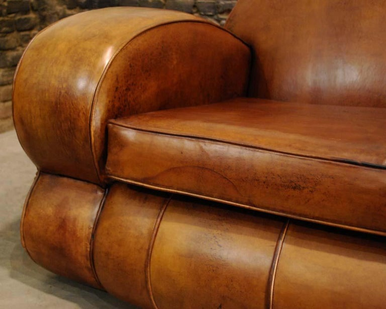 Antique Art Deco French Leather Two-Seat Club Sofa For Sale 4
