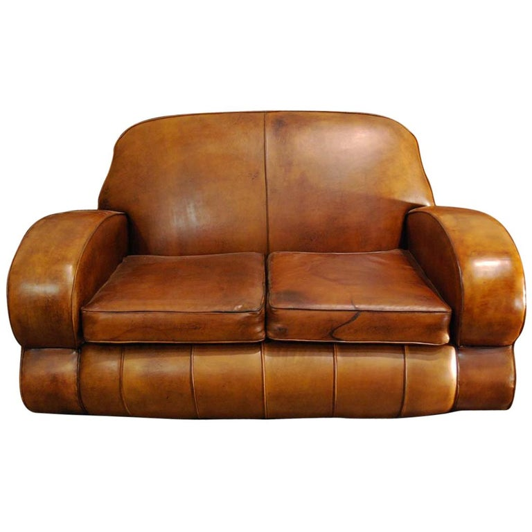 Antique Art Deco French Leather Two-Seat Club Sofa