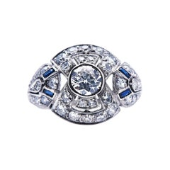 Antique, Art Deco, French, Platinum, Diamond and Sapphire Bombé Ring