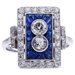 Antique Art Deco, French, Platinum, Diamond and Sapphire Ring