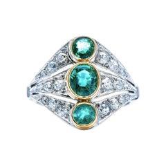 Antique, Art Deco, French, Platinum, Emerald and Diamond Ring