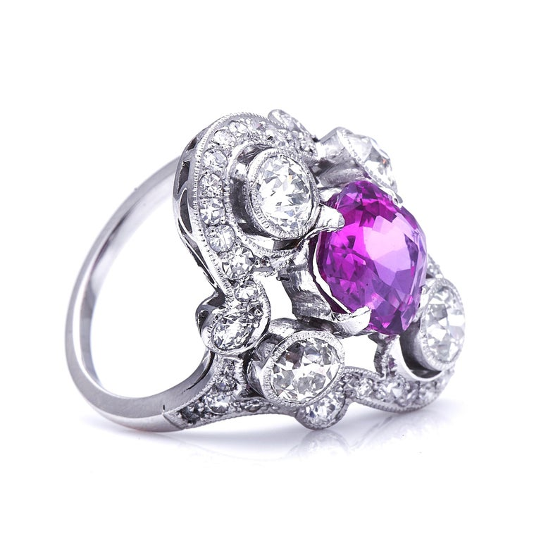Pink sapphire and diamond ring, circa 1925. Sri Lanka is the most historically famous source of sapphires, and was colloquially known as 'Ratna Dweepa', or the 'Island of Gems'. This 3.45 carat unheated Sri Lankan sapphire displays a floral