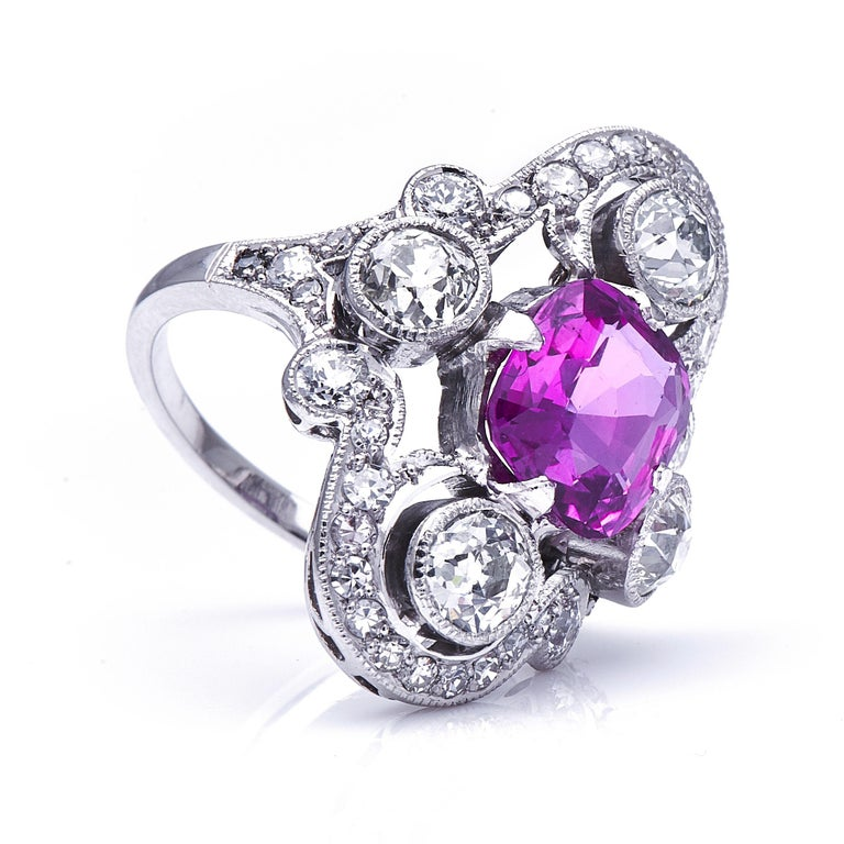Women's or Men's Antique Art Deco, French, Platinum, Large Pink Sapphire and Diamond Ring For Sale