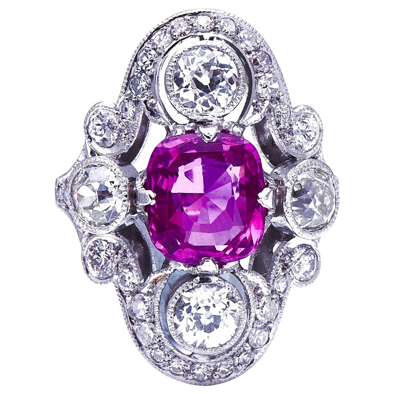 Antique Art Deco, French, Platinum, Large Pink Sapphire and Diamond Ring For Sale