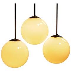 "Antique Art Deco Globe Opaline ""Fixed"" Pendant Lights"