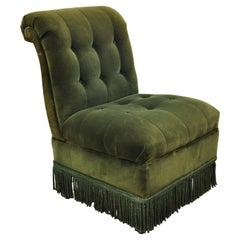 Antique Art Deco Green Velvet Mohair Rolled Back Fringed Slipper Lounge Chair