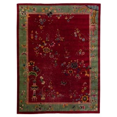 Antique Art Deco Handmade Chinese Floral Pattern Red Wool Rug