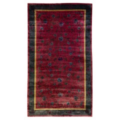 Antique Art Deco Handmade Chinese Floral Red Wool Rug