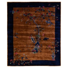 Antique Art Deco Handmade Floral Chinese Motif Brown and Blue Wool Rug