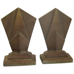 Antique Art Deco Hubley Cast Iron Geometric Skyscraper Sculpture Bookends