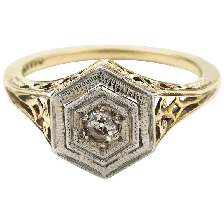 Antique Engagement Rings For Sale: Antique Art Deco Illusion Set Diamond Engagement Ring For
