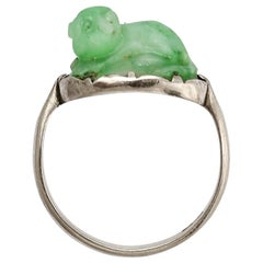 Antique Art Deco Jade Cat Ring