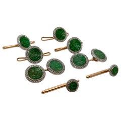Antique Art Deco Jade, Diamond, & Platinum-Topped Gold Cufflink & Dress Set