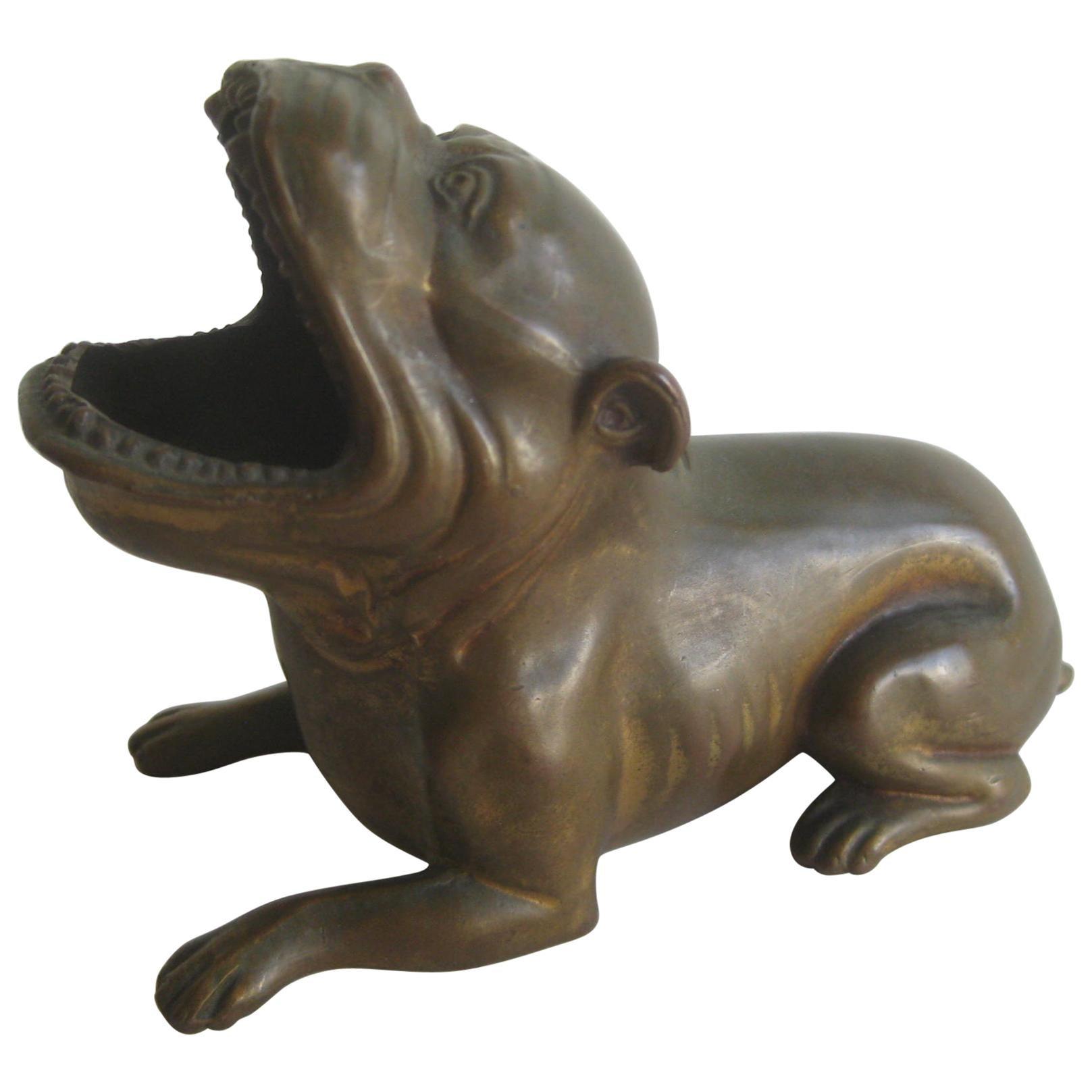 Antique Art Deco Jennings Brothers Bronze Bulldog Dog Cigar Figural Ashtray