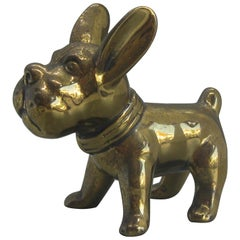 Antique Art Deco Jennings Brothers French Bulldog Dog Figural Brass Sculpture