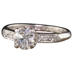 Antique Art Deco Lambert Bros Platinum Old Mine Diamond Engagement Ring