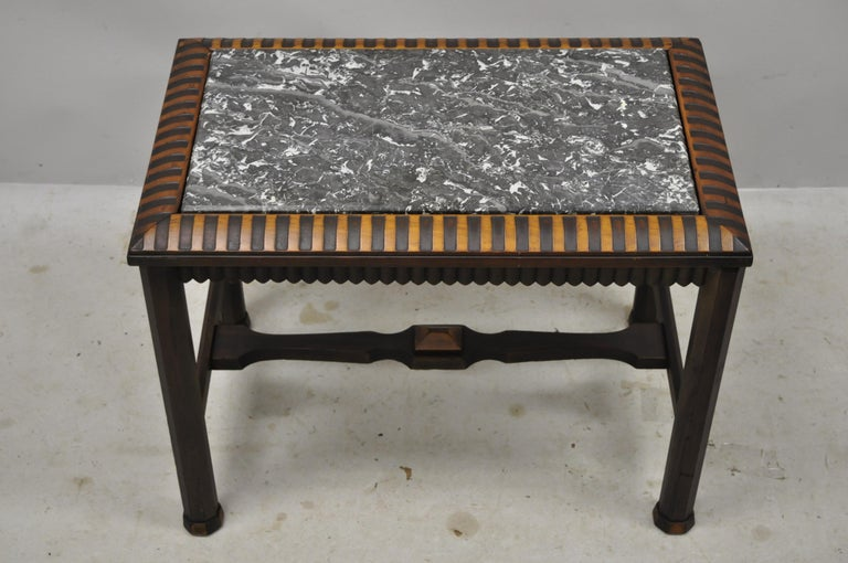 Antique Art Deco Mahogany Base Black Marble-Top Side Table Small Coffee Table For Sale 5