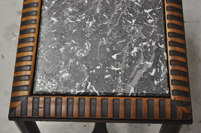 Antique Art Deco Mahogany Base Black Marble-Top Side Table Small Coffee Table In Good Condition For Sale In Philadelphia, PA