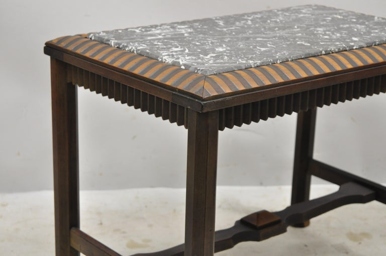 20th Century Antique Art Deco Mahogany Base Black Marble-Top Side Table Small Coffee Table For Sale