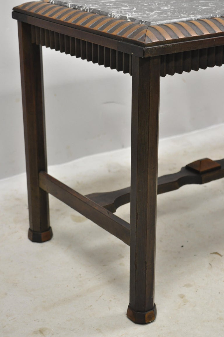 Antique Art Deco Mahogany Base Black Marble-Top Side Table Small Coffee Table For Sale 2
