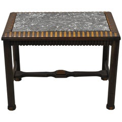 Antique Art Deco Mahogany Base Black Marble-Top Side Table Small Coffee Table
