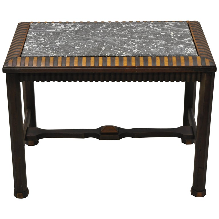 Antique Art Deco Mahogany Base Black Marble-Top Side Table Small Coffee Table For Sale