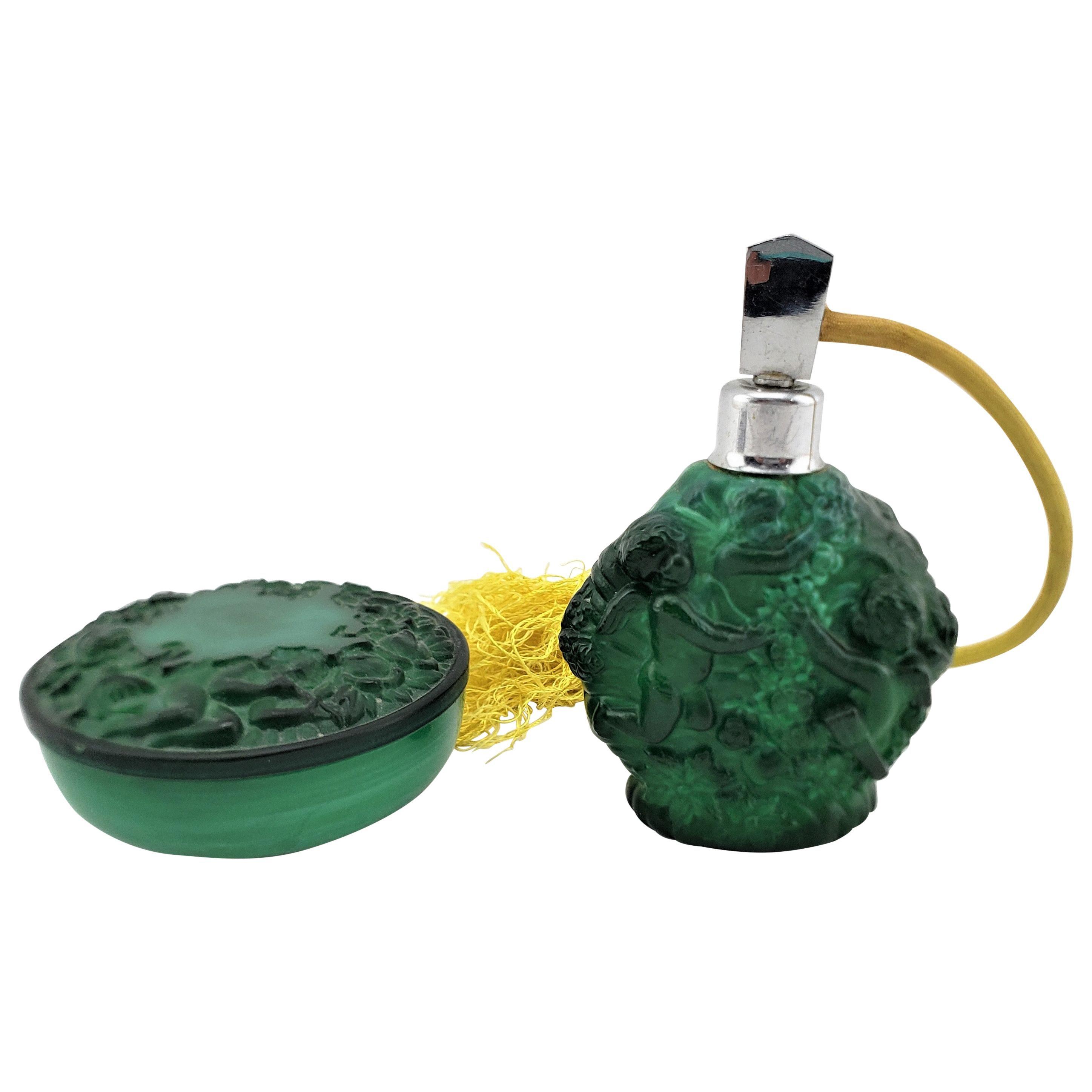 Antique Art Deco Malachite Green Glass Perfume Spray Bottle & Dresser Jar Set