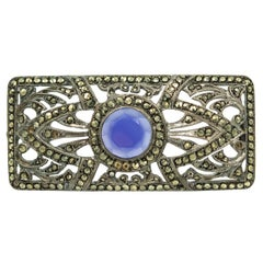 Antique Art Deco Marcasite Silver Openwork Brooch with Blue Center Stone