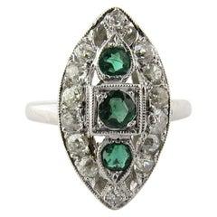 Antique Art Deco Marquise Shaped Platinum Diamond Emerald Dinner Ring