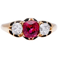 Antique, Art Deco, Natural Red Spinel and Diamond Three-stone Engagement Ring