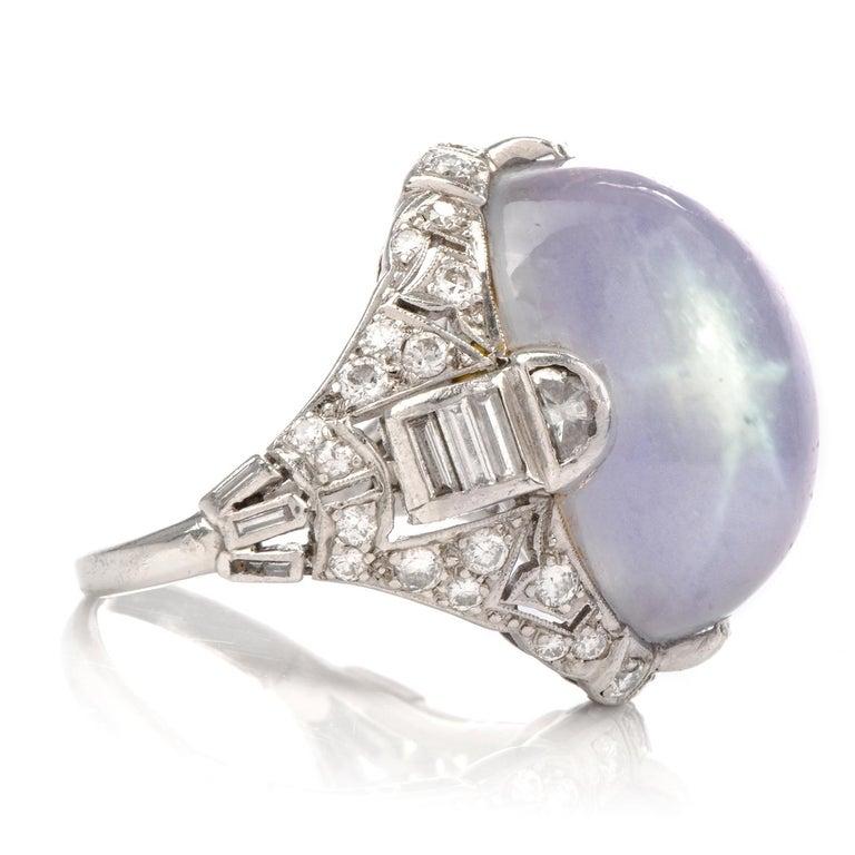 Antique Art Deco Natural Star Sapphire Diamond Platinum Cocktail Ring In Good Condition For Sale In Miami, FL