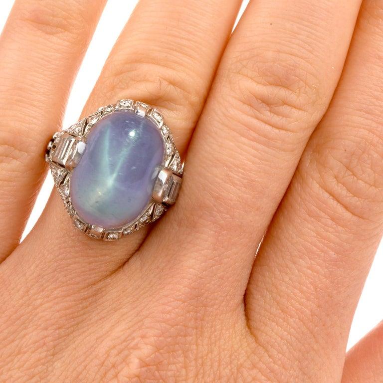 Antique Art Deco Natural Star Sapphire Diamond Platinum Cocktail Ring For Sale 1