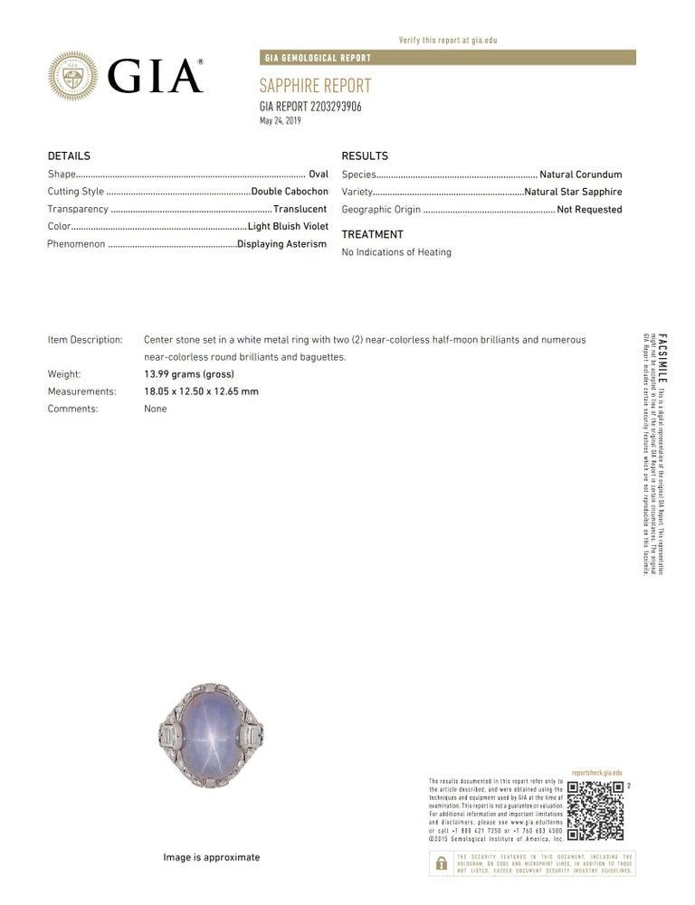 Women's Antique Art Deco Natural Star Sapphire Diamond Platinum Cocktail Ring For Sale