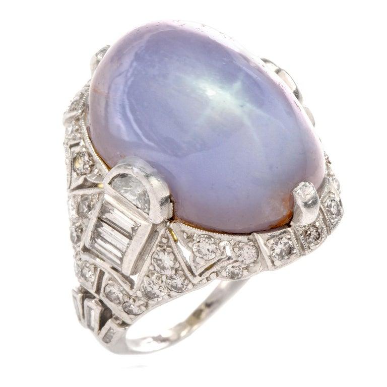 Antique Art Deco Natural Star Sapphire Diamond Platinum Cocktail Ring For Sale 2