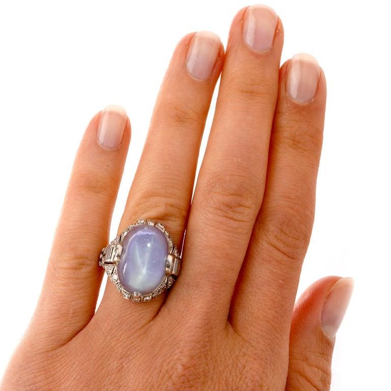 Antique Art Deco Natural Star Sapphire Diamond Platinum Cocktail Ring For Sale 3
