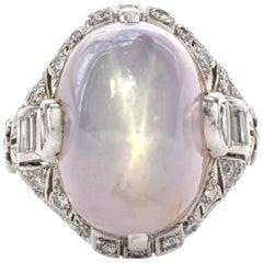 Antique Art Deco Natural Star Sapphire Diamond Platinum Cocktail Ring