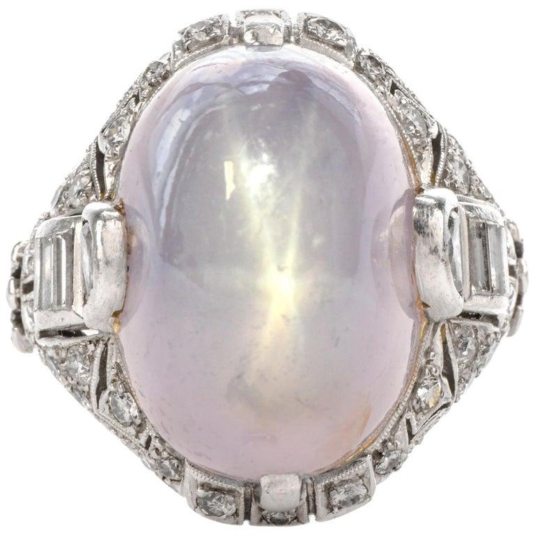 Antique Art Deco Natural Star Sapphire Diamond Platinum Cocktail Ring For Sale