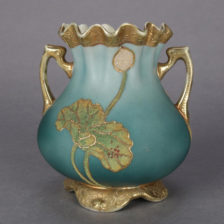 Antique Art Deco Nippon Porcelain Hand Painted & Gilt Coraline Vase, circa 1920 In Good Condition For Sale In Big Flats, NY