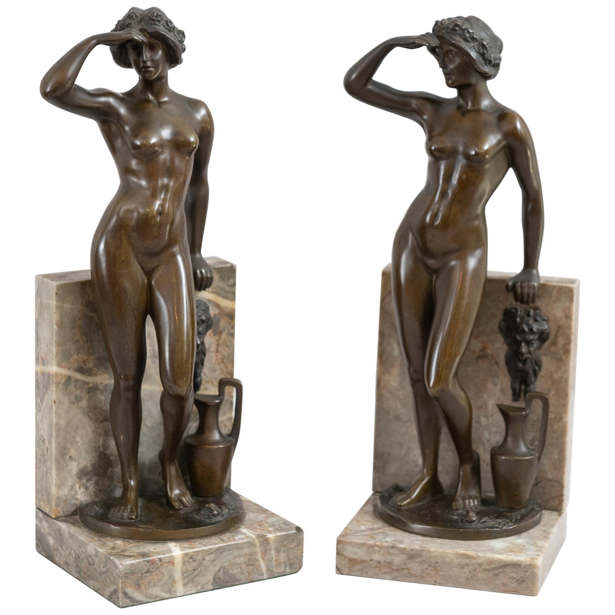 Antique Art Deco/Nouveau Pair of German Bronze & Marble Bookends, Signed