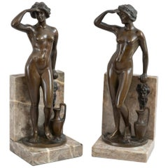 Antique Art Deco/Nouveau Pair of German Bronze & Marble Bookends, Signed