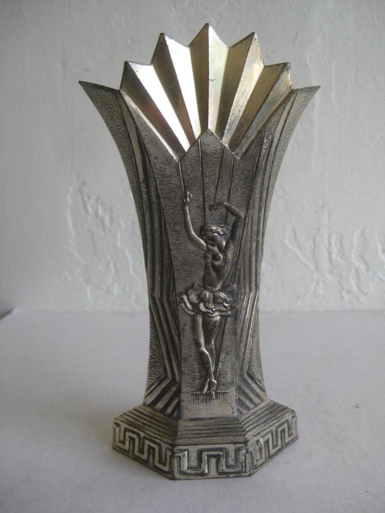 Antique Art Deco Nude Dancer Ballerina Figural Fan Shaped