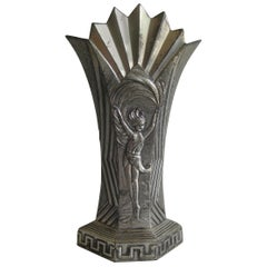 Antique Art Deco Nude Dancer Ballerina Figural Fan Shaped Greek Key Metal Vase