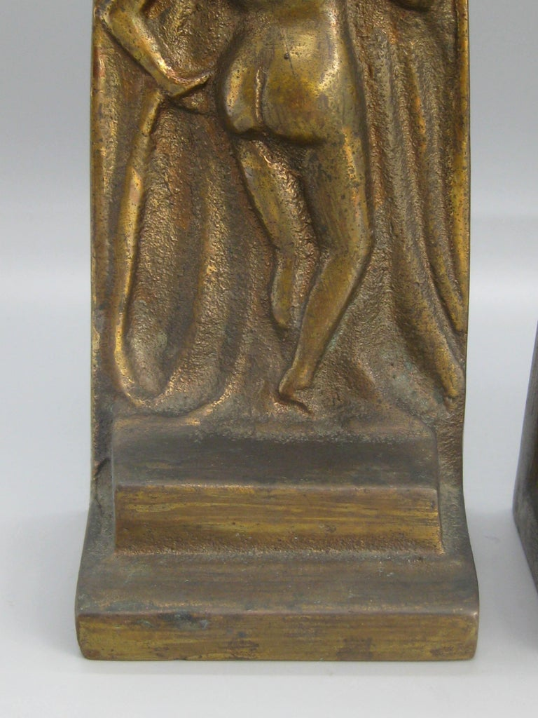 American Antique Art Deco Nude Lady Woman Figural Cast Brass Bookends Hubley Era For Sale