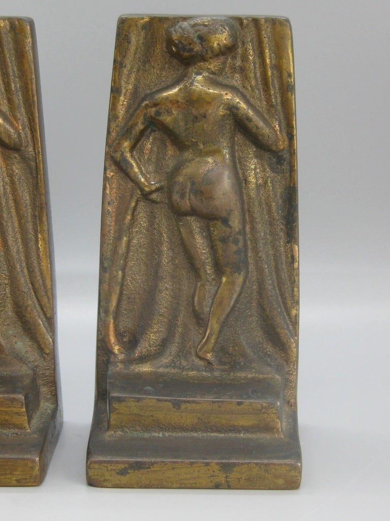 20th Century Antique Art Deco Nude Lady Woman Figural Cast Brass Bookends Hubley Era For Sale