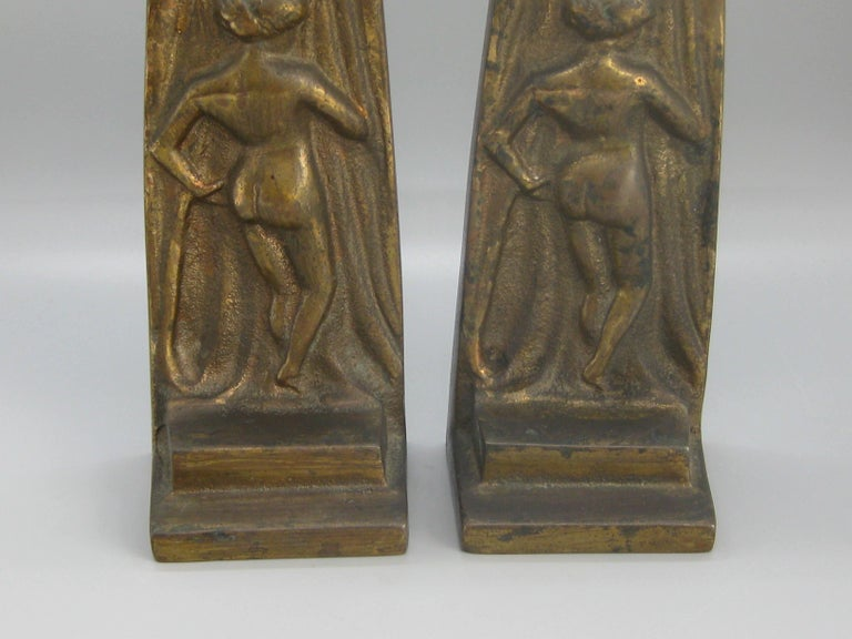 Antique Art Deco Nude Lady Woman Figural Cast Brass Bookends Hubley Era For Sale 1